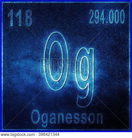 Oganesson Chemical Element, Sign With Atomic Number And Atomic Weight, Periodic Table Element