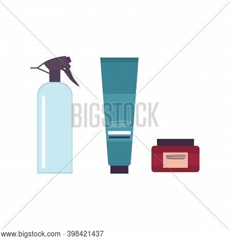 Traditional Items For Daily Hygiene Of Mustache And Beard In Barber Shop Or Hair Salon. Vector Illus