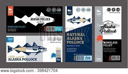 Vector Alaska Pollock Labels And Design Elements