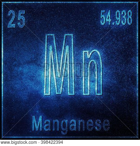 Manganese Chemical Element, Sign With Atomic Number And Atomic Weight, Periodic Table Element