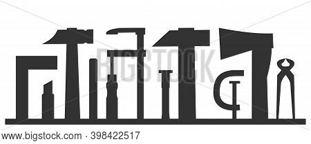 Carpentry Works. Any Kind Of Repair. Handyman Services Logo. A Carpenter. Monochrome Black Silhouett