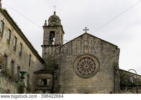 Pontevedra, Galicia / Spain - 2 December 2020: Detail View Of The San Francisco Chruch In The Old Ci