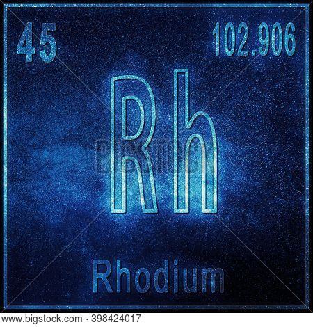 Rhodium Chemical Element, Sign With Atomic Number And Atomic Weight, Periodic Table Element