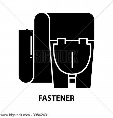 Fastener Icon, Black Vector Sign With Editable Strokes, Concept Illustration