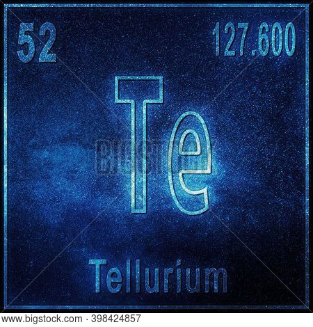 Tellurium Chemical Element, Sign With Atomic Number And Atomic Weight, Periodic Table Element