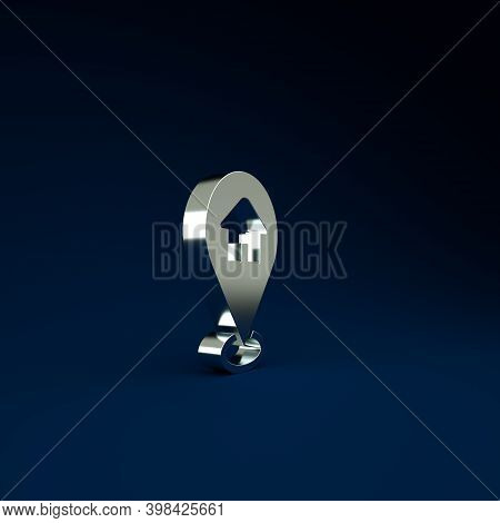 Silver Map Pointer With House Icon Isolated On Blue Background. Home Location Marker Symbol. Minimal