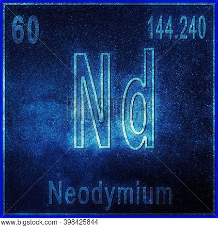 Neodymium Chemical Element, Sign With Atomic Number And Atomic Weight, Periodic Table Element