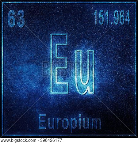 Europium Chemical Element, Sign With Atomic Number And Atomic Weight, Periodic Table Element