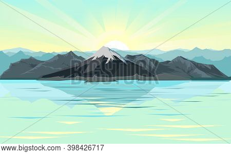 The Mountains. Mountain Range With Cliffs, Rocks And Peaks. Horizon. Landscape With Sky And Clouds.
