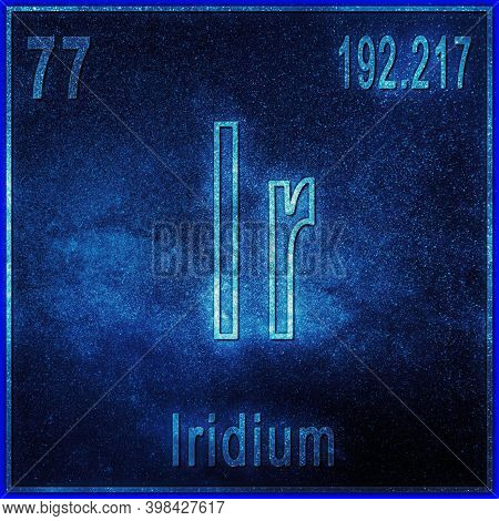 Iridium Chemical Element, Sign With Atomic Number And Atomic Weight, Periodic Table Element