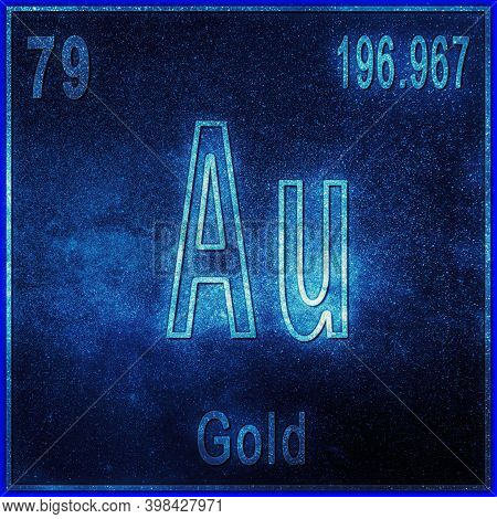 Gold Chemical Element, Sign With Atomic Number And Atomic Weight, Periodic Table Element