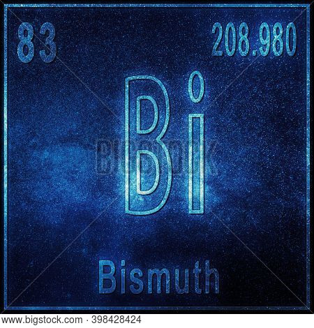 Bismuth Chemical Element, Sign With Atomic Number And Atomic Weight, Periodic Table Element