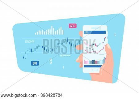 Mobile Stock Or Forex Trading Concept Banner Design.