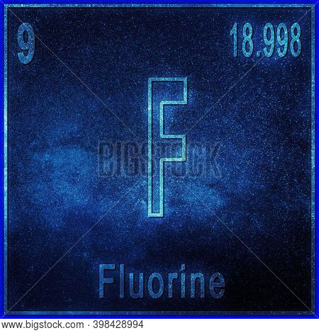 Fluorine Chemical Element, Sign With Atomic Number And Atomic Weight, Periodic Table Element