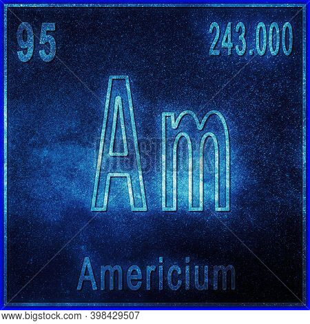 Americium Chemical Element, Sign With Atomic Number And Atomic Weight, Periodic Table Element