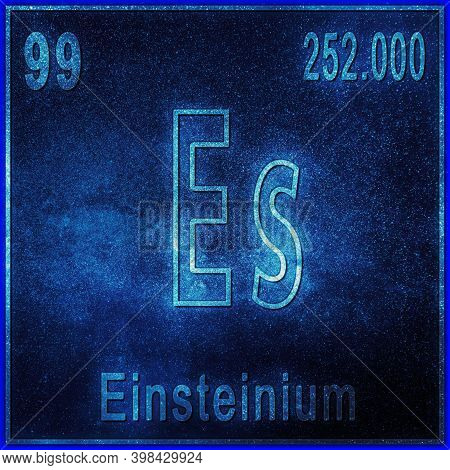 Einsteinium Chemical Element, Sign With Atomic Number And Atomic Weight, Periodic Table Element