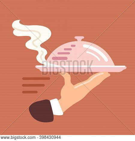 Waiter's Hand With A Tray. The Waiter Serves. Serving Food. Vector Flat Illustration
