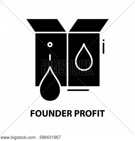 Founder Profit Icon, Black Vector Sign With Editable Strokes, Concept Illustration