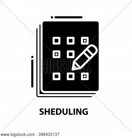 Sheduling Icon, Black Vector Sign With Editable Strokes, Concept Illustration