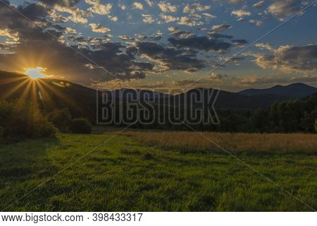 Sunset Near Krzywe Village In Summer Color Morning