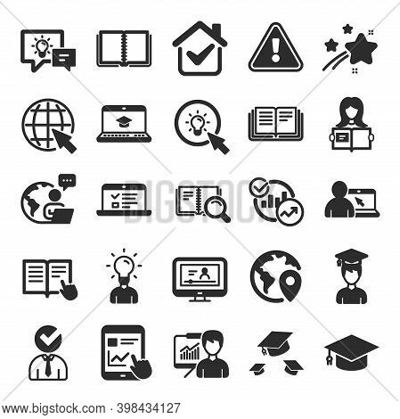 Education Icons. Laptop, Book And Video Tutorial Icons. Graduation Cap, Instructions And Presentatio