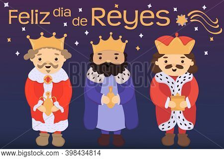 Cute Cartoon Three Kings Prince Character With The Beard And Crown Holding Golden Gifts Vector Illus