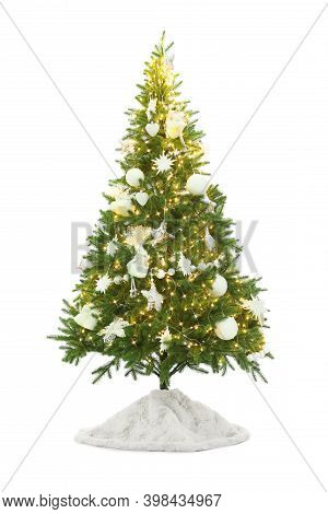 Decorated Christmas Tree With Faux Fur Skirt Isolated On White