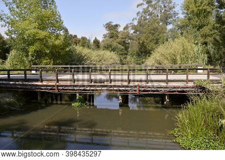 Old Rural Bridge Over The Dirty Waters Of The Canal Surrounded By Lots Of Vegetation And Trees On A