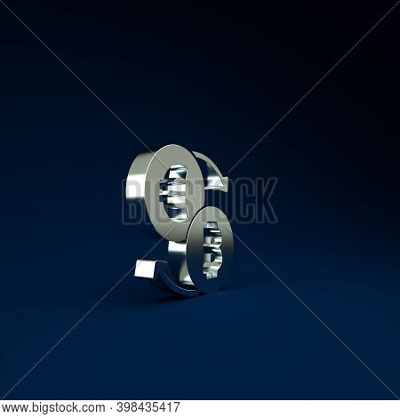 Silver Cryptocurrency Exchange Icon Isolated On Blue Background. Bitcoin To Euro Exchange Icon. Cryp