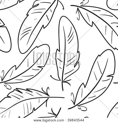 Seamless Pattern With Birds Feathers