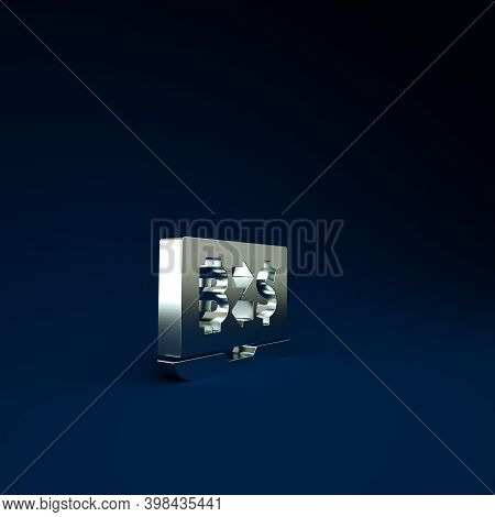 Silver Cryptocurrency Exchange Icon Isolated On Blue Background. Bitcoin To Dollar Exchange Icon. Cr