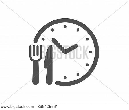 Food Time Icon. Meal Order Clock Sign. Restaurant Opening Hours Symbol. Quality Design Element. Flat