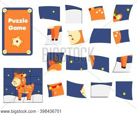 Jigsaw Puzzle For Toddlers. Complete Picture Of Christmas Deer. New Year Theme Educational Game For
