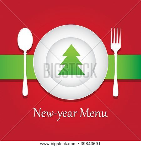 Special New-year and Christmas restaurant menu. Vector design template.