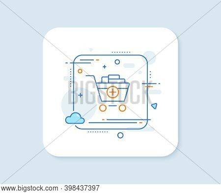 Add To Shopping Cart Line Icon. Abstract Square Vector Button. Online Buying Sign. Supermarket Baske