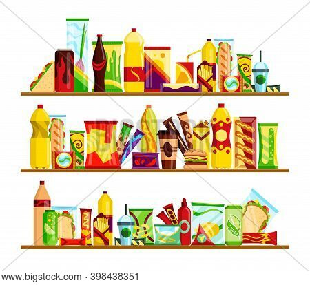 Snack Product Set On Shelves. Fast Food Snacks Drinks, Chips, Juice And Sandwich Isolated On White B