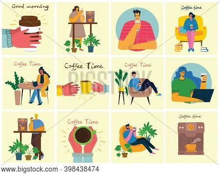 Coffee Set Illustrations. People Spend Their Time In The Cafeteria, Drinking Cappuccino, Latte, Espr