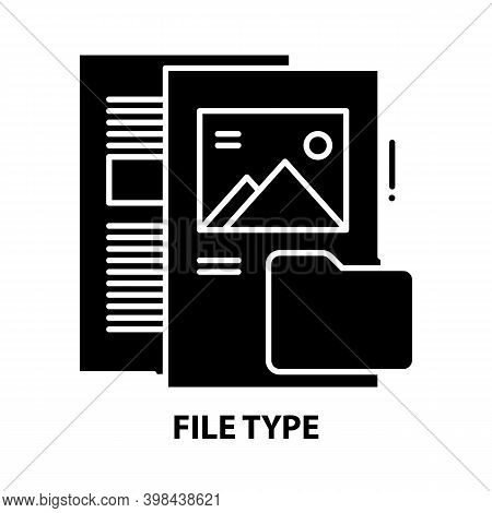 File Type Icon, Black Vector Sign With Editable Strokes, Concept Illustration