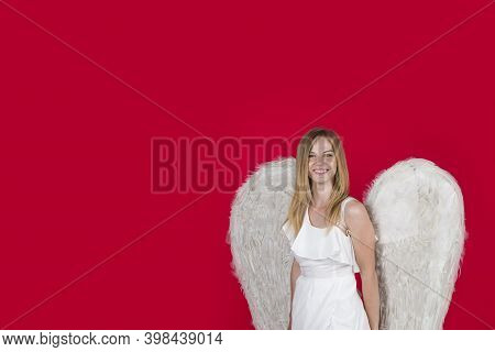 Love. Girl Angel With White Wings. Valentines Day Cupid. Angel Woman. Cupid Girl In Valentine Day. C