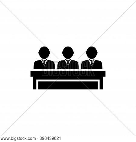 Honorable Jury Group, Committee Jurors. Flat Vector Icon Illustration. Simple Black Symbol On White