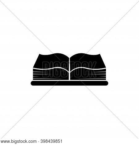 Open Big Book, Encyclopedia Or Bible. Flat Vector Icon Illustration. Simple Black Symbol On White Ba