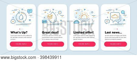 Set Of Nature Icons, Such As Sunset, Water Drop, Refill Water Symbols. Mobile App Mockup Banners. We
