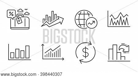 Graph, World Statistics And Travel Loan Line Icons Set. Growth Chart, Investment And Usd Exchange Si