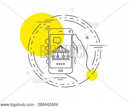 Carousels Line Icon. Mobile Phone Vector Button. Amusement Park Sign. Carousels Line Icon. Abstract