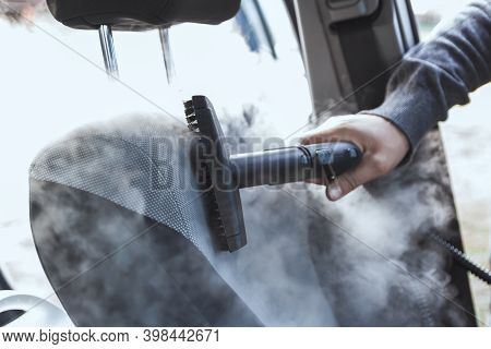 Cleaning And Disinfecting By Steam Of The Car Interior And Car S
