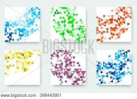 Vector Banners Collection With Abstract Multicolored Triangle Mosaic Backgrounds. Modern Geometric P