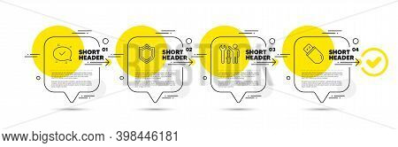 Security, Repairman And Approved Line Icons Set. Timeline Infograph Speech Bubble. Usb Stick Sign. P