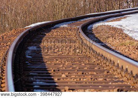 Railroad In Winter. Snow On The Roadside. Transportation Scenery