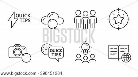 Business Idea, Quick Tips And Quickstart Guide Line Icons Set. Internet Book, Star Target And Cloud