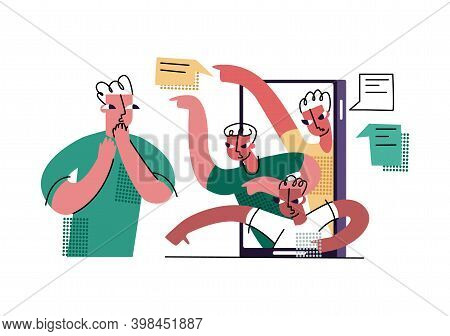 Vector Flat Isolated Illustration With Concept Of Internet Trolling, Bullying, Gaslighting, Threats,